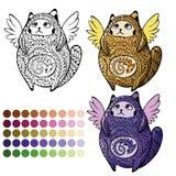 Gato con alas lindo para colorear stock de ilustración
