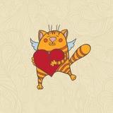 Gato con el corazón Foto de archivo libre de regalías