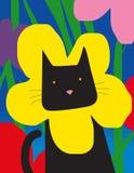 Gato con el cuello de la flor Fotografía de archivo
