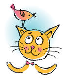 Gato con el pájaro Imagen de archivo libre de regalías