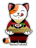 Gato con el sushi Imagenes de archivo
