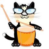 Gato con el tambor stock de ilustración