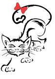 Gato con la cinta Imágenes de archivo libres de regalías