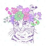 Gato con la guirnalda ilustración del vector