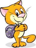 Gato con la situación del bolso de escuela aislado Imagen de archivo