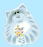 Gato con las flores Fotos de archivo