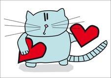 Gato con los corazones fotografía de archivo