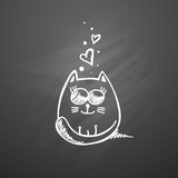 Gato con los corazones Imagen de archivo