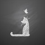 Gato con los corazones Imagen de archivo libre de regalías
