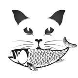 Gato con los pescados en la boca ilustración del vector