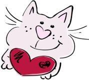 Gato con un corazón Fotografía de archivo libre de regalías