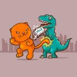 Gato contra Dino Fotos de Stock Royalty Free