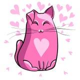 Gato cor-de-rosa ilustração do vetor