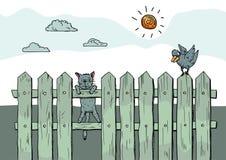 Gato curioso engraçado que está na cerca ilustração stock