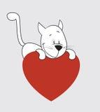 Gato. Día de tarjeta del día de San Valentín Imagen de archivo