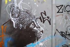Gato da arte da rua Imagens de Stock Royalty Free