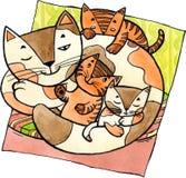 Gato da mãe com gatinhos ilustração stock