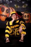 Gato Dalton dos pares de Halloween fotografia de stock