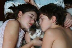 Gato de abrazo hermano y del muchacho y de la muchacha adolescentes de la hermana Fotos de archivo libres de regalías