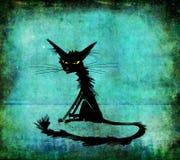 Gato de assento preto com olhos amarelos Imagens de Stock Royalty Free