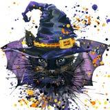 Gato de Dia das Bruxas e chapéu da bruxa fundo da ilustração da aquarela Imagem de Stock
