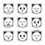 Gato de Emoji Emoji preto e branco Imagens de Stock Royalty Free
