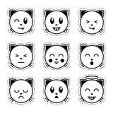 Gato de Emoji Emoji preto e branco Imagem de Stock