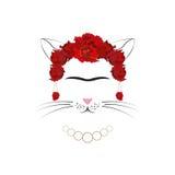 Gato de Frida, parodia de Frida Kahlo Fotos de archivo