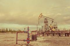 Gato de la bomba Extracción del petróleo Concepto del petróleo imagen de archivo