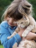 Gato de la chica joven y del animal doméstico foto de archivo libre de regalías