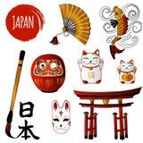 Gato de la fortuna y diversos objetos japoneses Imágenes de archivo libres de regalías