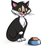 Gato de la historieta con el tazón de fuente del alimento Imagen de archivo