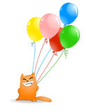 Gato de la historieta con los globos Foto de archivo