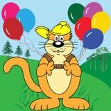 Gato de la historieta con los globos en parque Ilustración del Vector
