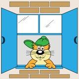 Gato de la historieta en la ventana Stock de ilustración