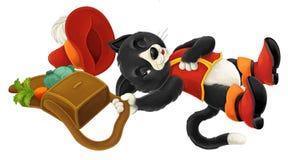 Gato de la historieta - - que miente abajo fingiendo dormir Imágenes de archivo libres de regalías