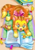 Gato de la lectura Imagen de archivo libre de regalías
