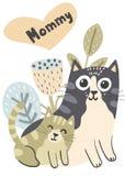 Gato de la madre y su ejemplo del gatito del bebé libre illustration