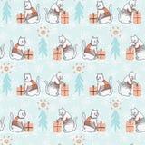 Gato de la Navidad en modelo inconsútil del vector del suéter del bordado ilustración del vector