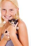 Gato de la niña Foto de archivo libre de regalías