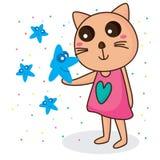 Gato de la sonrisa del préstamo de la estrella Imagen de archivo libre de regalías