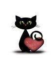 Gato de la tarjeta del día de San Valentín con el corazón rojo Imagen de archivo libre de regalías