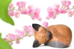 Gato de madera tailandés y flor mexicana de la enredadera imagen de archivo