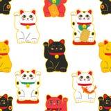 Gato de Maneki-neko Modelo inconsútil con los gatos afortunados dibujados mano que se sientan Cultura japonesa Dibujo del garabat ilustración del vector