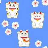 Gato de Maneki-neko Teste padrão sem emenda com os gatos afortunados tirados mão de assento Cultura japonesa Desenho da garatuja  ilustração stock
