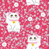 Gato de Maneki-neko Teste padrão sem emenda com os gatos afortunados tirados mão de assento Cultura japonesa Desenho da garatuja  ilustração do vetor