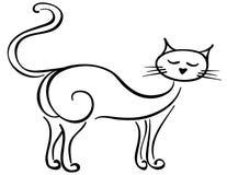 Gato de ronroneo de mentira del negro Fotografía de archivo