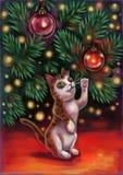 Gato debajo del árbol stock de ilustración