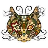 Gato decorativo tribal do vetor Fotografia de Stock Royalty Free