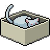 Gato del arte del pixel del vector en caja ilustración del vector